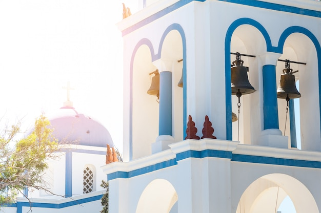Beautiful close up of santorini church Premium Photo