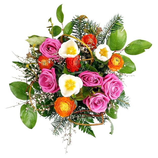 Красивый красочный букет свежих цветов, изолированные на белом пространстве Бесплатные Фотографии