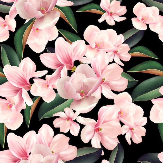 マグノリアの花と葉と美しいカラフルなパターン Premium写真