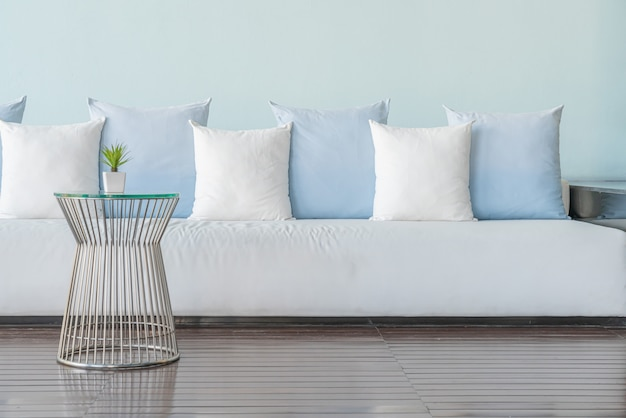 Beautiful and comfortable pillows on sofa Premium Photo