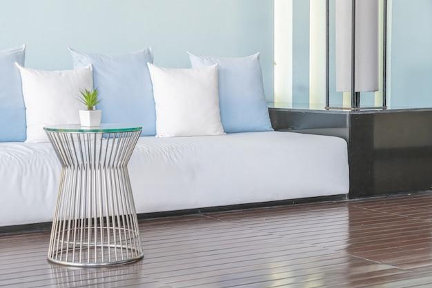 Beautiful and comfortable pillows on sofa Premium Photo