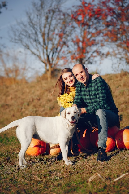Beautiful couple spend time in an autumn park Free Photo