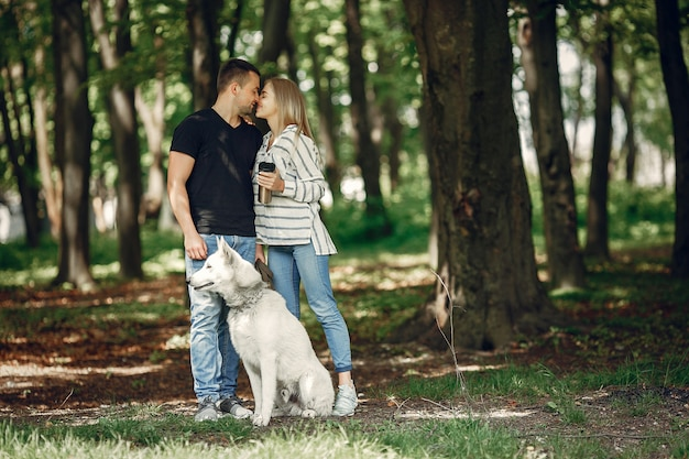 Beautiful couple spend time on a forest Free Photo