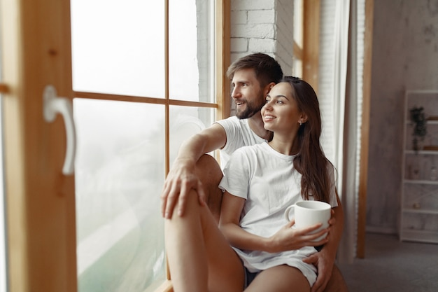 Beautiful couple spend time at home Free Photo