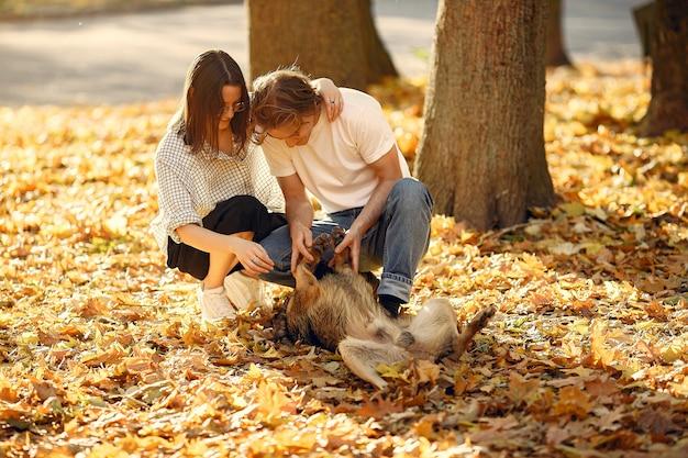 Красивая пара проводит время в осеннем парке Бесплатные Фотографии