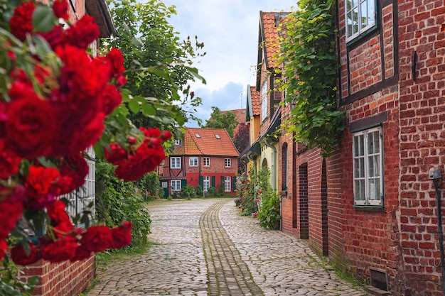 Beautiful cozy street of the old town of luneburg in germany Premium Photo