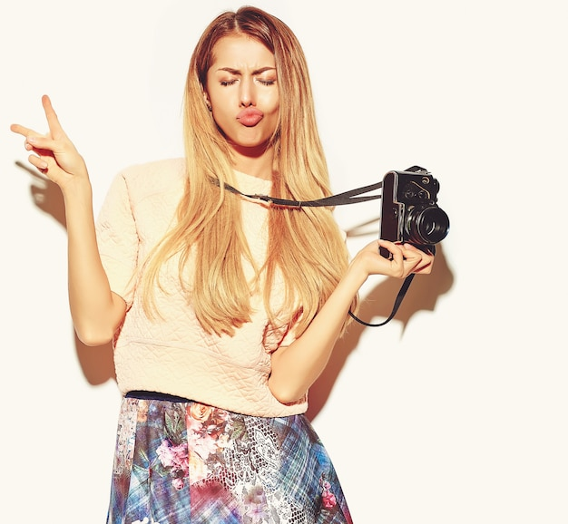 Beautiful cute blond woman in hipster clothes Free Photo