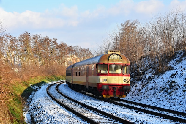 Beautiful czech passenger train with carriages. Free Photo