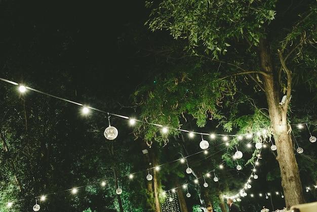 Beautiful decoration for a night wedding Premium Photo