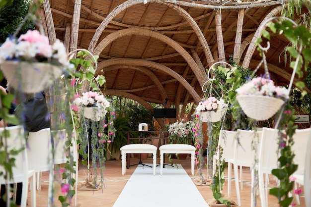 Beautiful decoration setup for wedding ceremony Premium Photo
