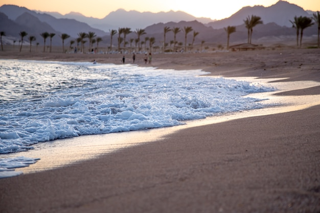 Beautiful deserted sandy beach at sunset with sea waves against the background of mountains. Free Photo