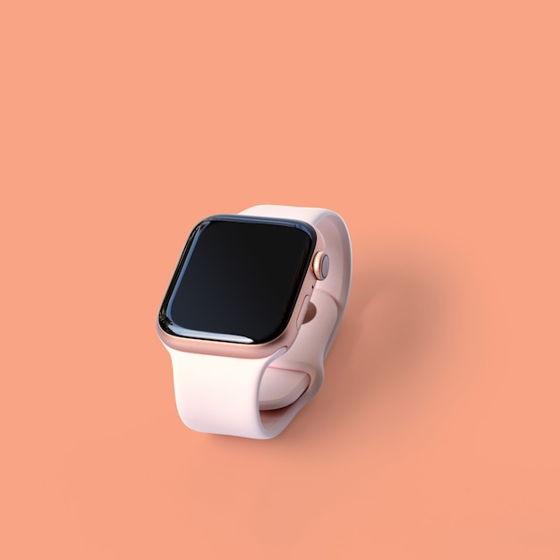 Beautiful design modern smart watch isolated on pastel color wall with clipping path. Premium Photo