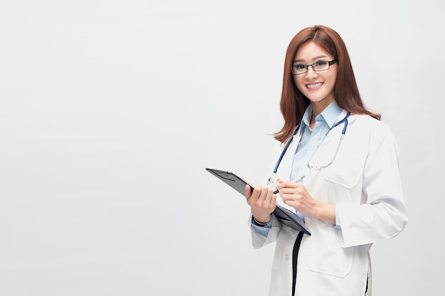 A beautiful doctor who can be both a dentist, a surgeon, a beauty doctor. Premium Photo