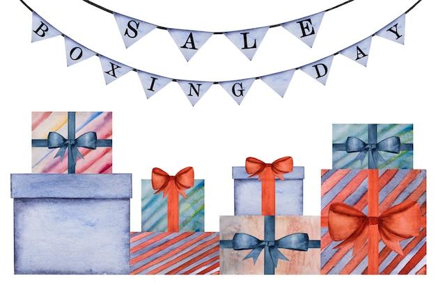 Красивый рисунок коробок с подарками. крупный план, людей нет. акварельная краска. концепция покупок и развлечений Premium Фотографии