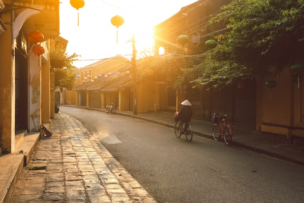 Beautiful early morning at street in hoi an ancient town Premium Photo