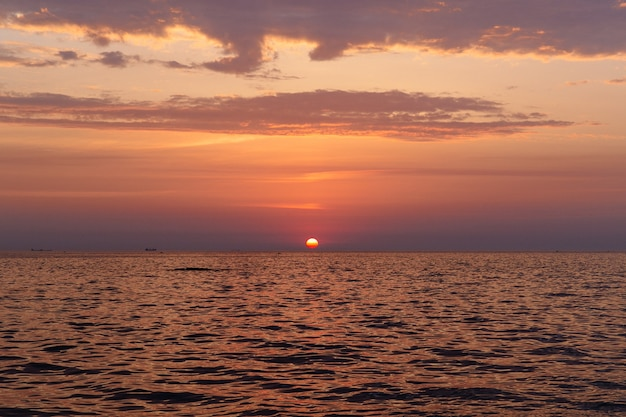 Beautiful evening sea sunrise at summer. Free Photo