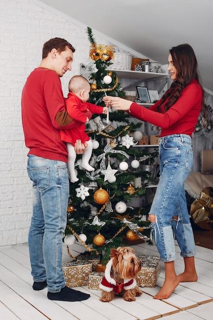 La bella famiglia passa il tempo a casa Foto Gratuite