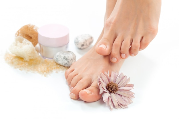 Beautiful female feet at spa salon Premium Photo