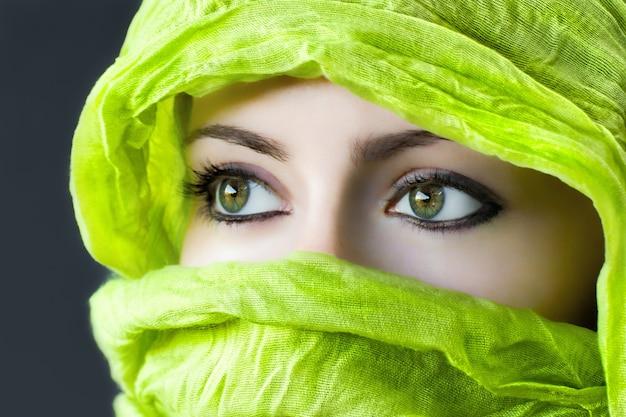 Beautiful female with green eyes Free Photo