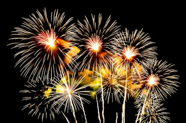 Beautiful firework display on sky at night for celebration Free Photo