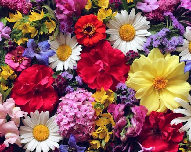 美しい花の背景、上面図。庭の花の花束。バラ、ダリア、デイジー、その他の花。 Premium写真