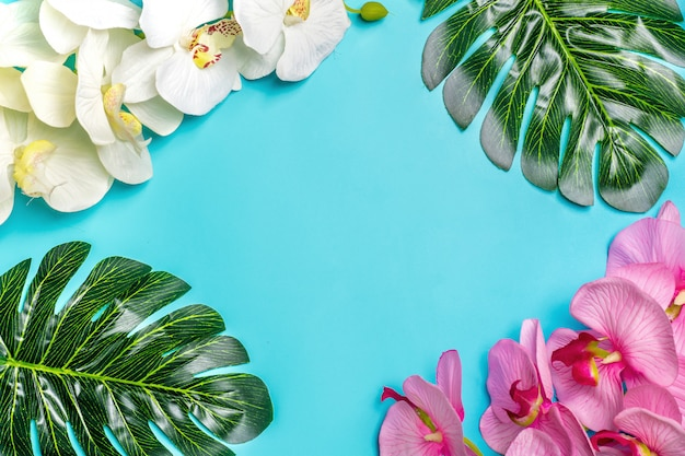 Beautiful floral background of tropical tree leaves monstera and palm, orchid flower Premium Photo