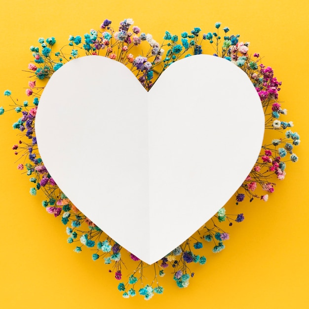Beautiful floral concept with heart copy space Premium Photo