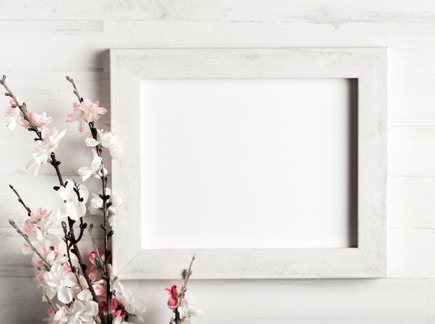 Beautiful flower and a frame on wooden wall Free Photo