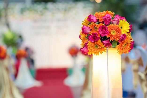 Beautiful flowers bouquet decorate in wedding ceremony Premium Photo