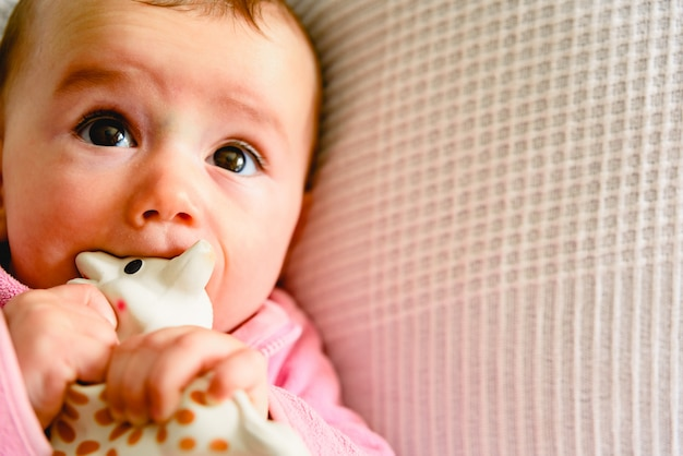 Beautiful and friendly 6 month old baby girl teething and biting to calm the pain Premium Photo