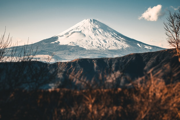 Beautiful fuji mountain with snow covered on the top in the winter season in japan Premium Photo