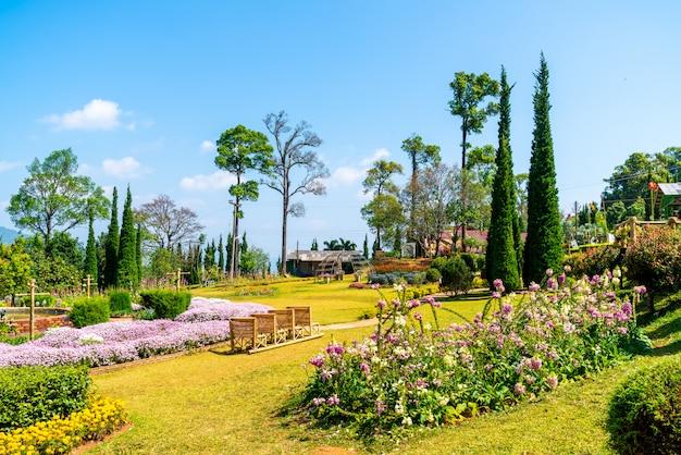 Beautiful garden park on mountain in chiang mai, thailand Premium Photo