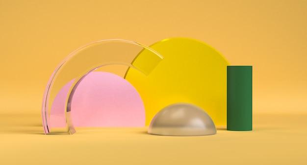 Beautiful geometric shape minimalist abstract background, 3d render. Premium Photo