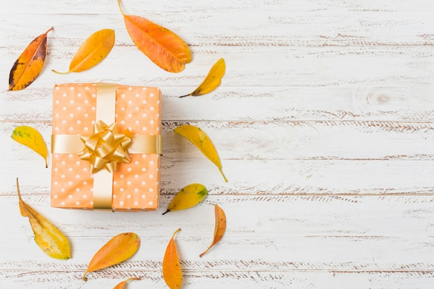 Beautiful gift box and autumn leaves over table with space of text Free Photo