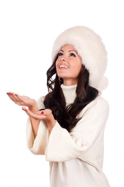 Beautiful Girl In Fur Hat Winter Woman Portrait Photo
