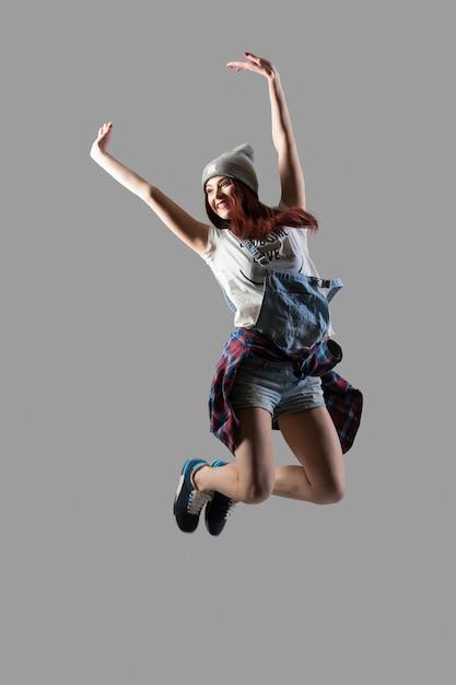 Beautiful girl jumping Free Photo