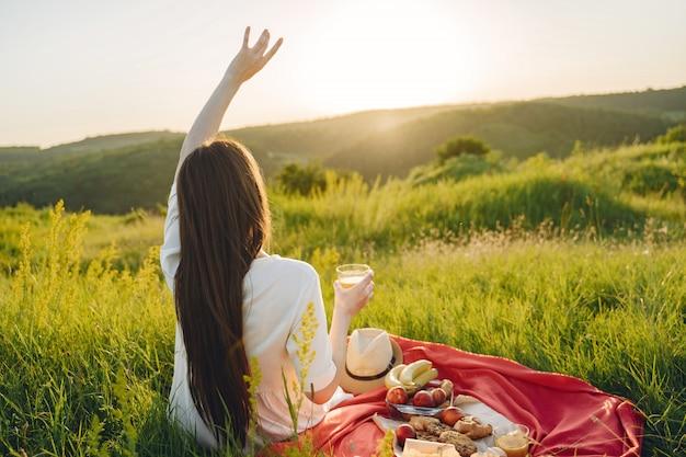Красивая девушка на пикнике в летнем поле Бесплатные Фотографии