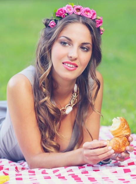 Beautiful girl in park Free Photo