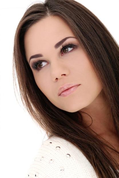 Beautiful girl with brown hair | Free Photo