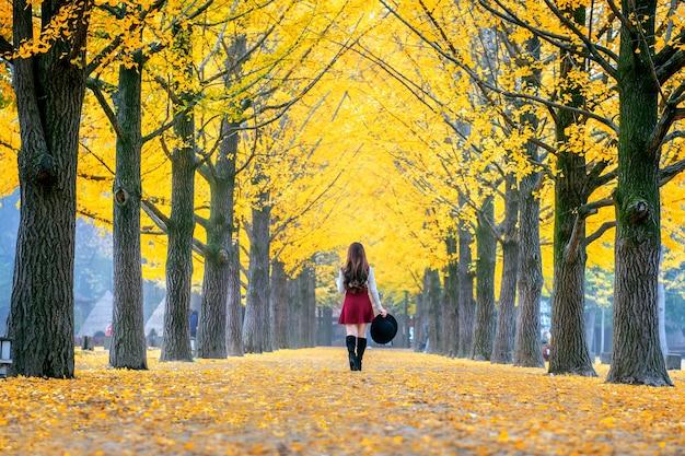 韓国、南怡島の黄色の葉を持つ美しい少女。 無料写真
