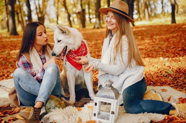 Beautiful girls have fun in a autumn park Free Photo