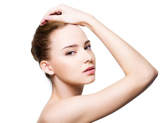 Beautiful glamour woman face with clean health skin Free Photo