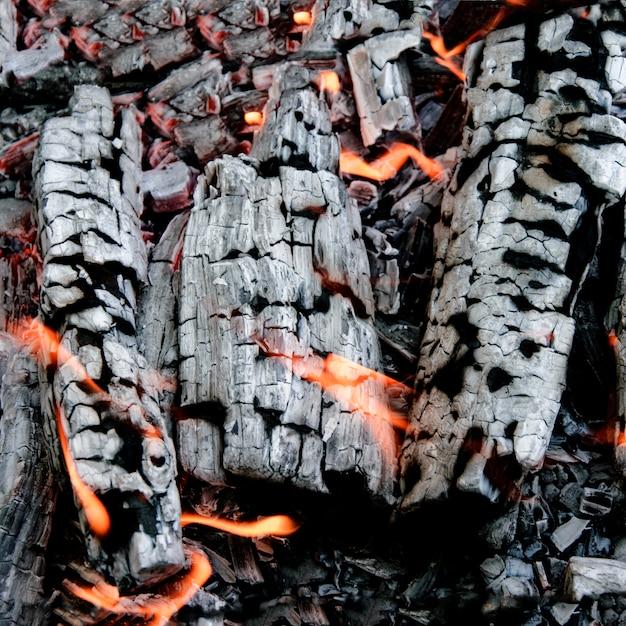Beautiful glowing charcoal close up Premium Photo
