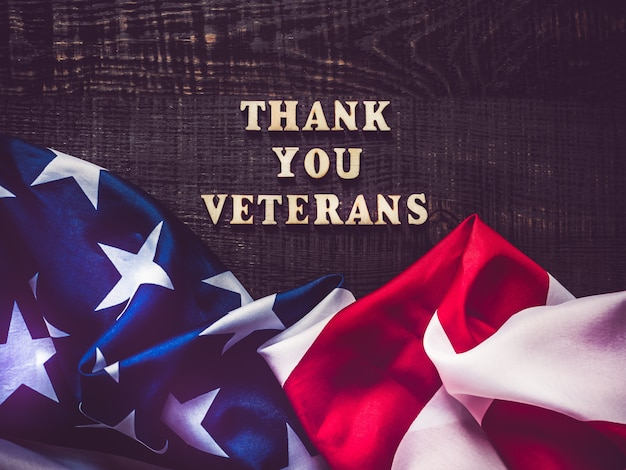 Beautiful greeting card on veterans day. top view. Premium Photo