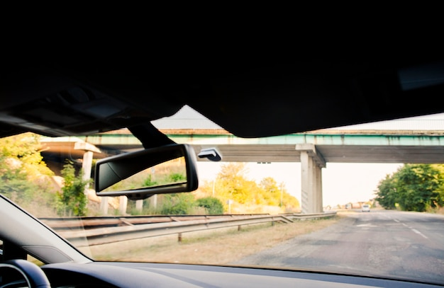 Beautiful highway view from a car interior Premium Photo