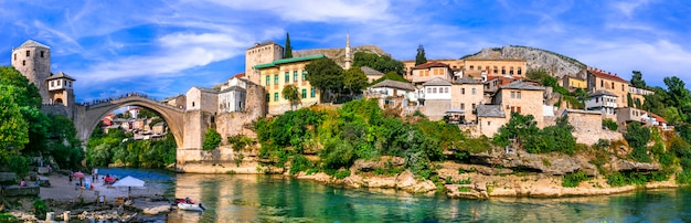 Beautiful iconic old town mostar with famous bridge in bosnia and herzegovina, popular tourist destination Premium Photo
