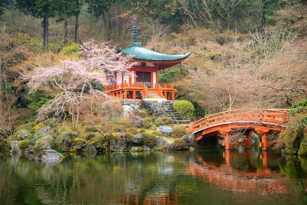Beautiful Japanese Garden At Daigo Ji Temple With Cherry Blossom
