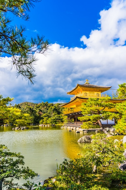 Beautiful kinkakuji temple with golden pavillion in kyoto japan Free Photo