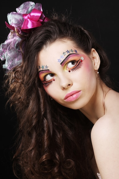 Beautiful lady with artistic make up Premium Photo