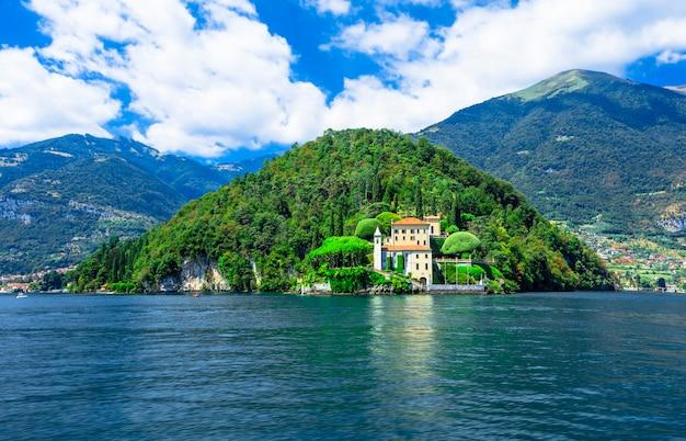 Красивое озеро комо, вилла дель бальбинелло Premium Фотографии